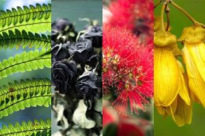 Green-black-red-gold flowers