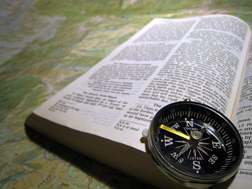 My Compass on Bible on Map