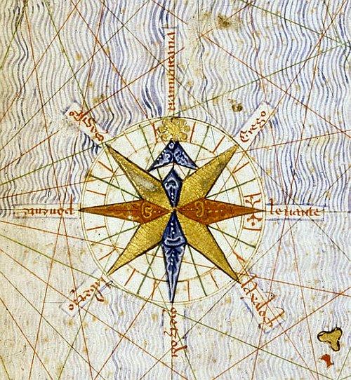First compass rose, Catalan Atlas 1375
