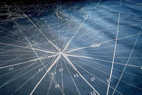 Compass rose star on map