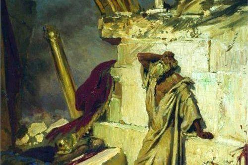 Jeremiah in the ruins of Jerusalem, Ilya Repin, 1870